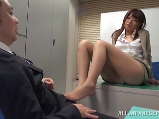 Quickie fucking on the office floor with cute chick Ayu Sakurai